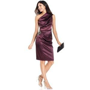 Eliza J Purple One Shoulder Cocktail Evening Dress